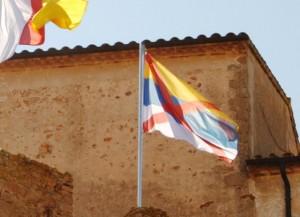 Crida l'atenció una nova bandera que oneja en una de les torres del Monestir de SFG
