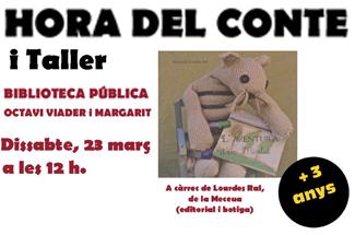 Hora del conte i taller, adreçat a nens i nenes de 3 anys a la Biblioteca Municipal