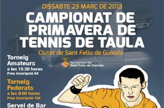 """Campionat de Primavera de Tennis Taula """"Ciutat de Sant Feliu de Guíxols"""""""