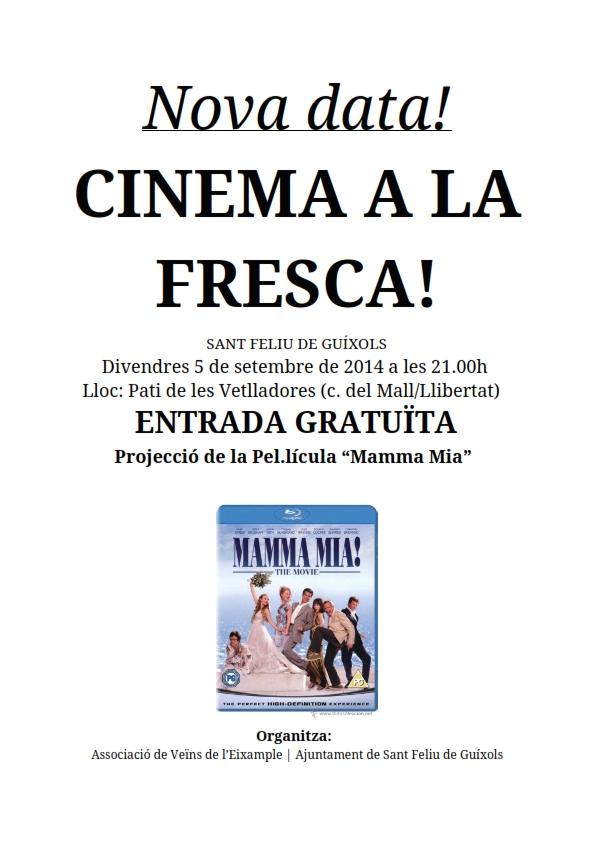 Nova data del Cinema a la Fresca (Veïns Eixample)