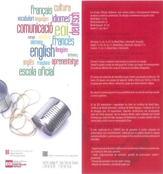 Estudia Idiomes! PREINSCRIPCIÓ Escola Oficial d'Idiomes de Sant Feliu de Guíxols – CURS 2014/15