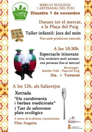 Un potent espectacle infantil acompanyarà el Mercat Ecològic i Artesanal del Puig la diada festiva de l'1 de novembre