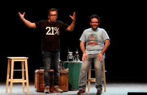 Andreu Buenafuente amb Edu Galan de Mongolia i Berto Romero, al Singlot del Festival de la Porta Ferrada de Sant Feliu de Guíxols  Foto: Xavier Casals