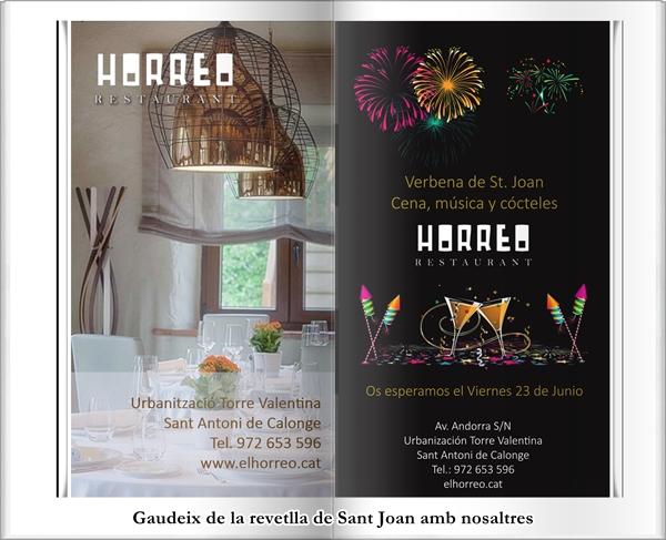 Revetlla de Sant Joan al restaurant El Horreo de Sant Antoni de Calonge