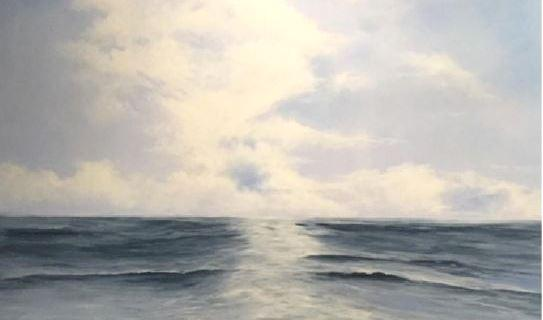 La pintora Nati Ramon porta el mar a la sala de La Caixa de Santa Cristina