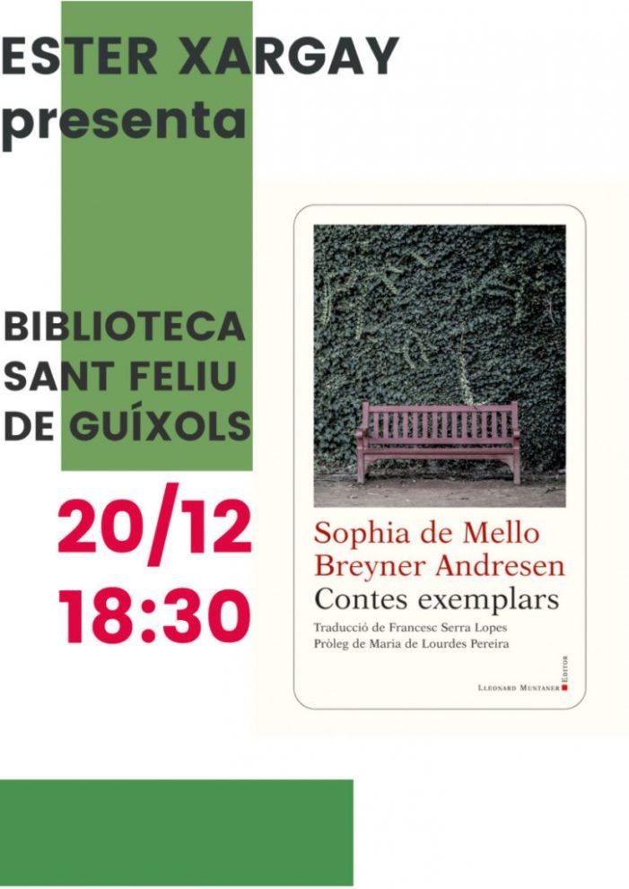 """Presentació de """"Contes exemplars"""", de Sophie de Mello, a la Biblioteca"""