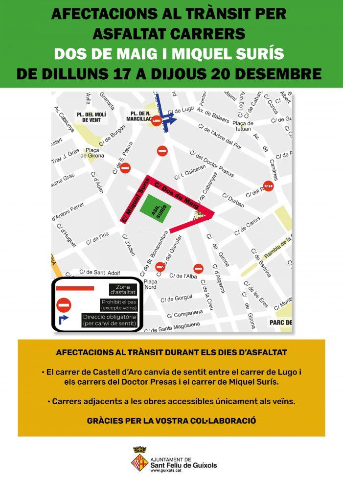 Afectacions al trànsit per asfaltat dels carrers Dos de Maig i Miquel Surís