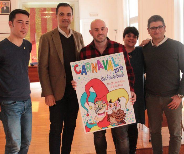Cartell del carnaval, a Sant Feliu, per anar escalfant l'ambient