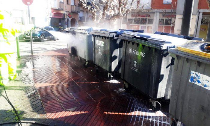Continuen les feines de desinfecció en diversos espais de Sant Feliu