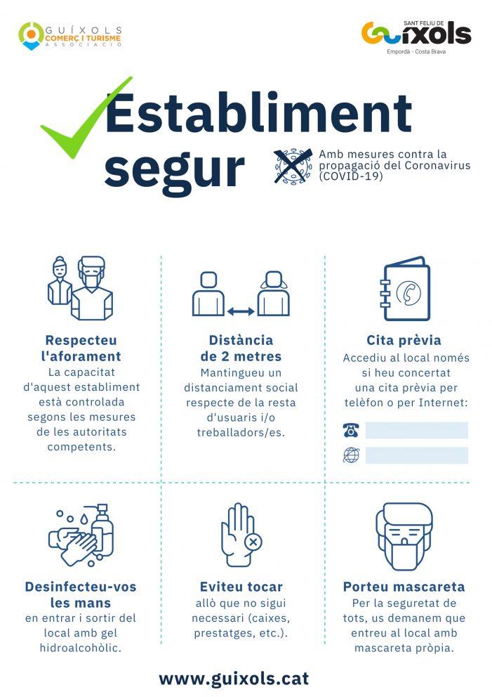 Cartell de mesures de prevenció contra la COVID-19 per als establiments comercials de Sant Feliu de Guíxols
