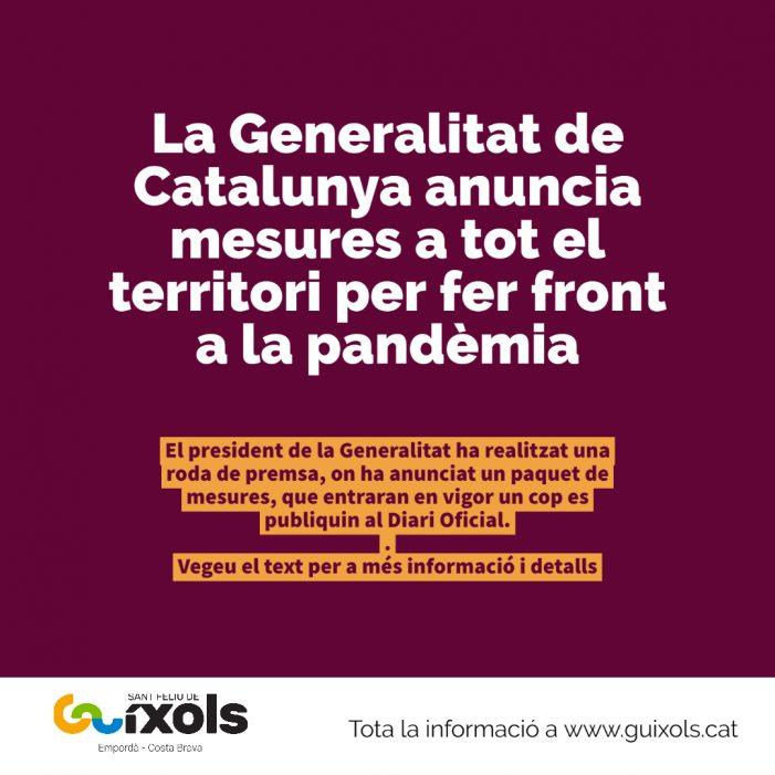 El president de la Generalitat anuncia un paquet de mesures per frenar l'avenç del coronavirus a Catalunya