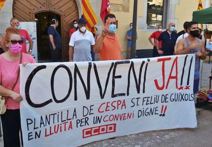 La plantilla de CESPA es concentra a Sant Feliu per reclamar un conveni