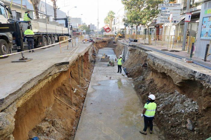 L'Avinguda S'Agaró de Platja d'Aro en obres fins a Nadal