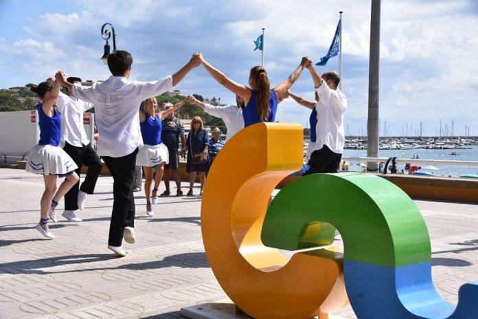 Preparació dels primers actes de la Capital de la Sardana 2021 a Sant Feliu de Guíxols